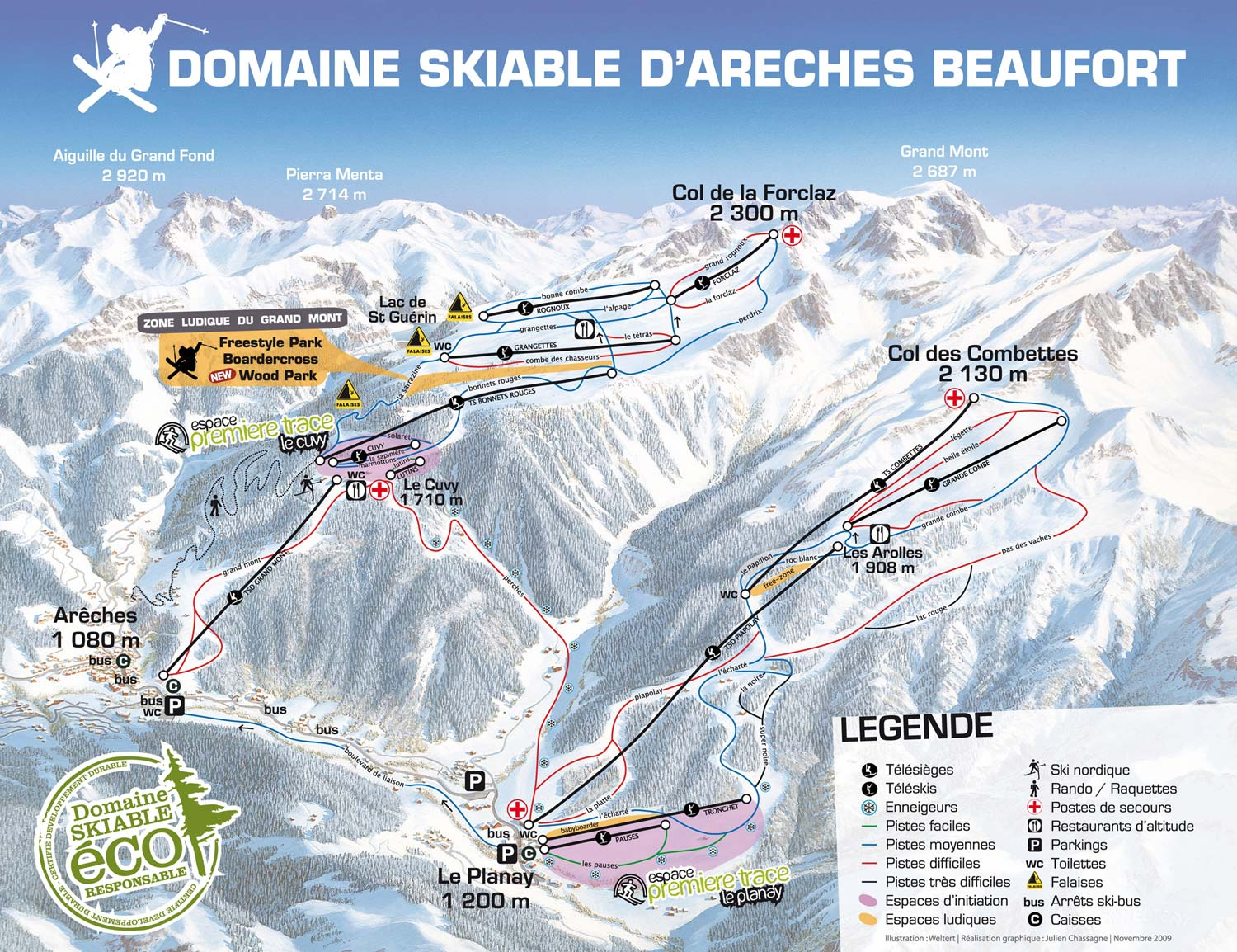 Arêches-Beaufort Piste / Trail Map