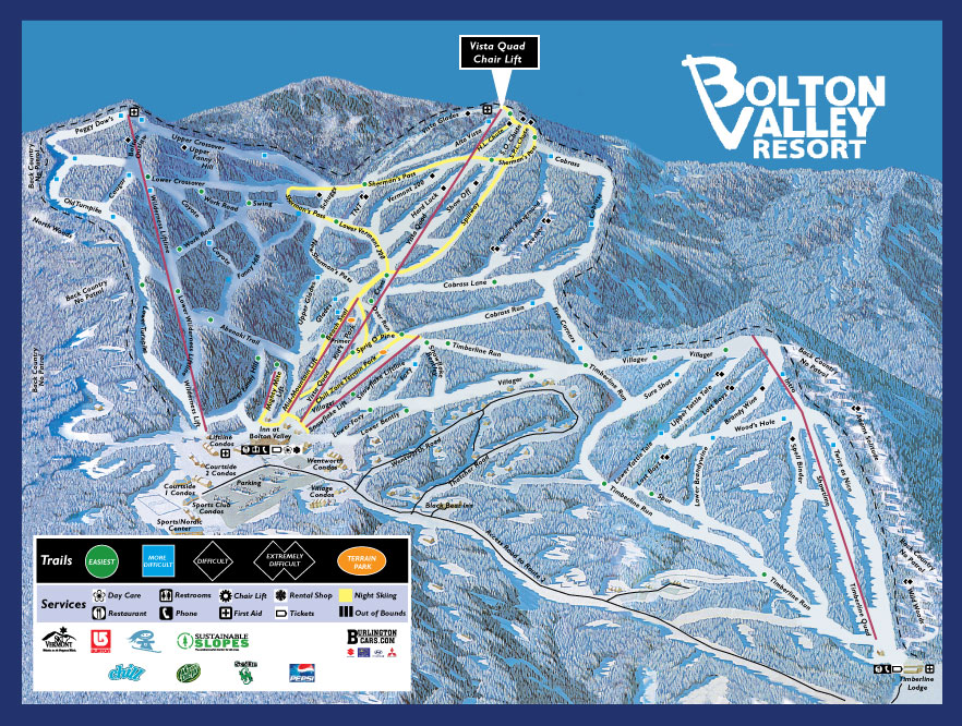 Bolton Valley Resort Piste / Trail Map