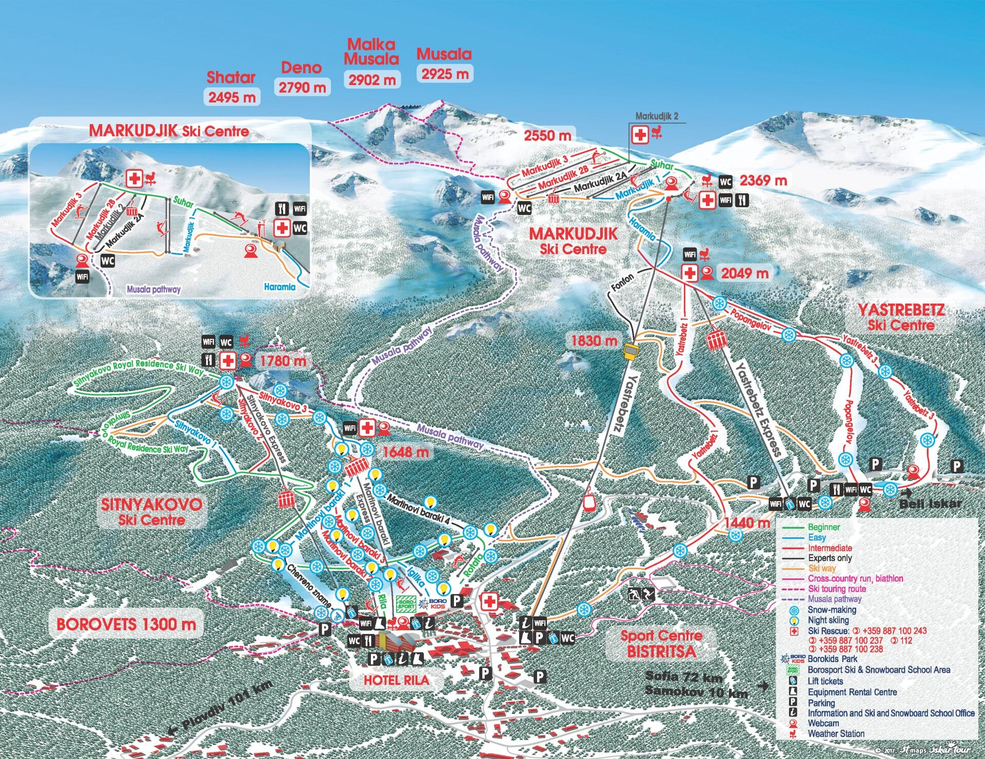 Borovets Piste / Trail Map
