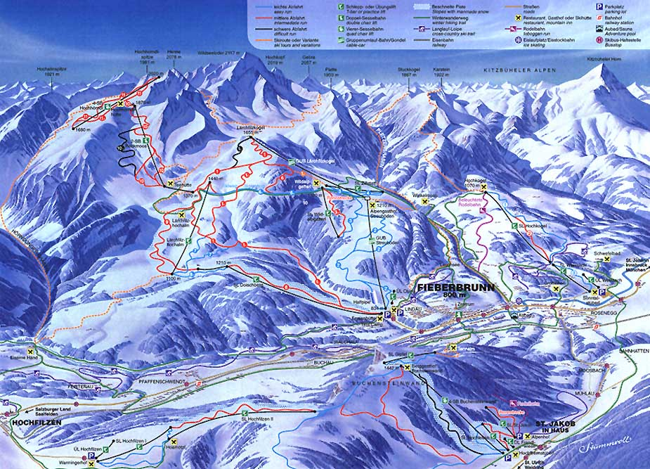 Fieberbrunn Piste / Trail Map