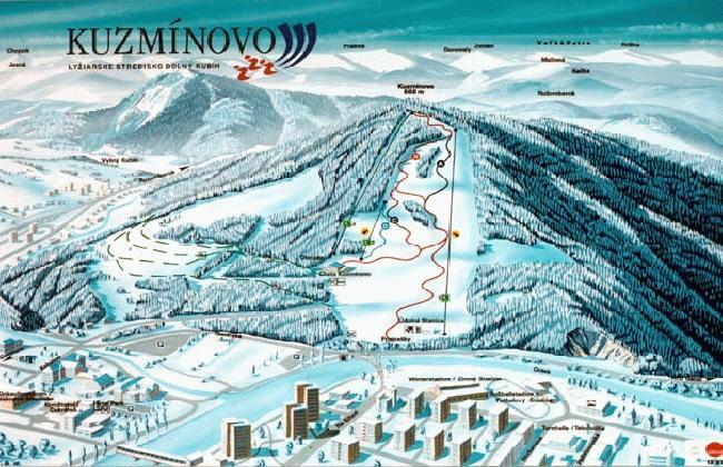 Kuzmínovo Piste / Trail Map