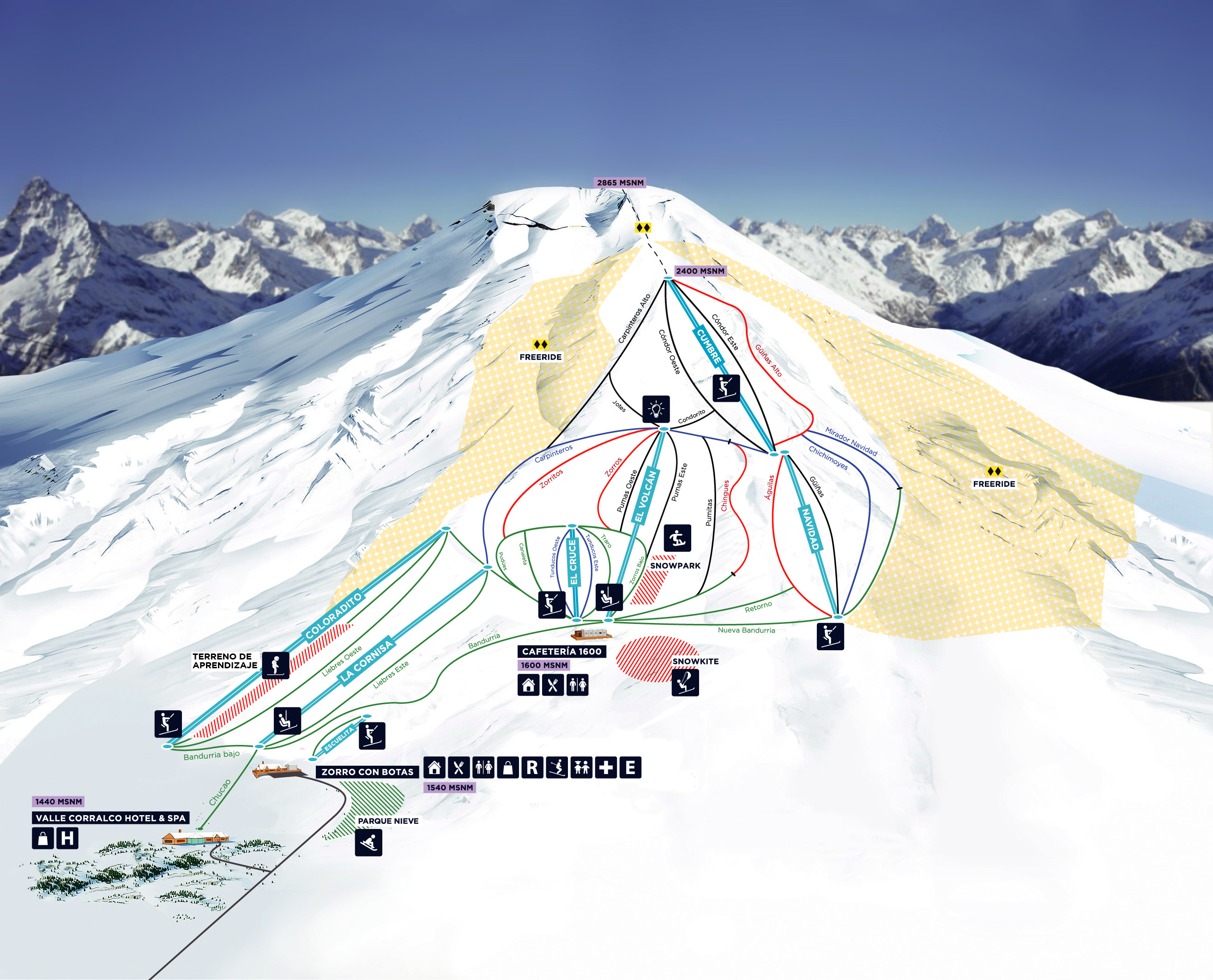 Corralco Mountain & Ski Resort Piste / Trail Map