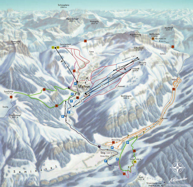 Malbun Piste / Trail Map