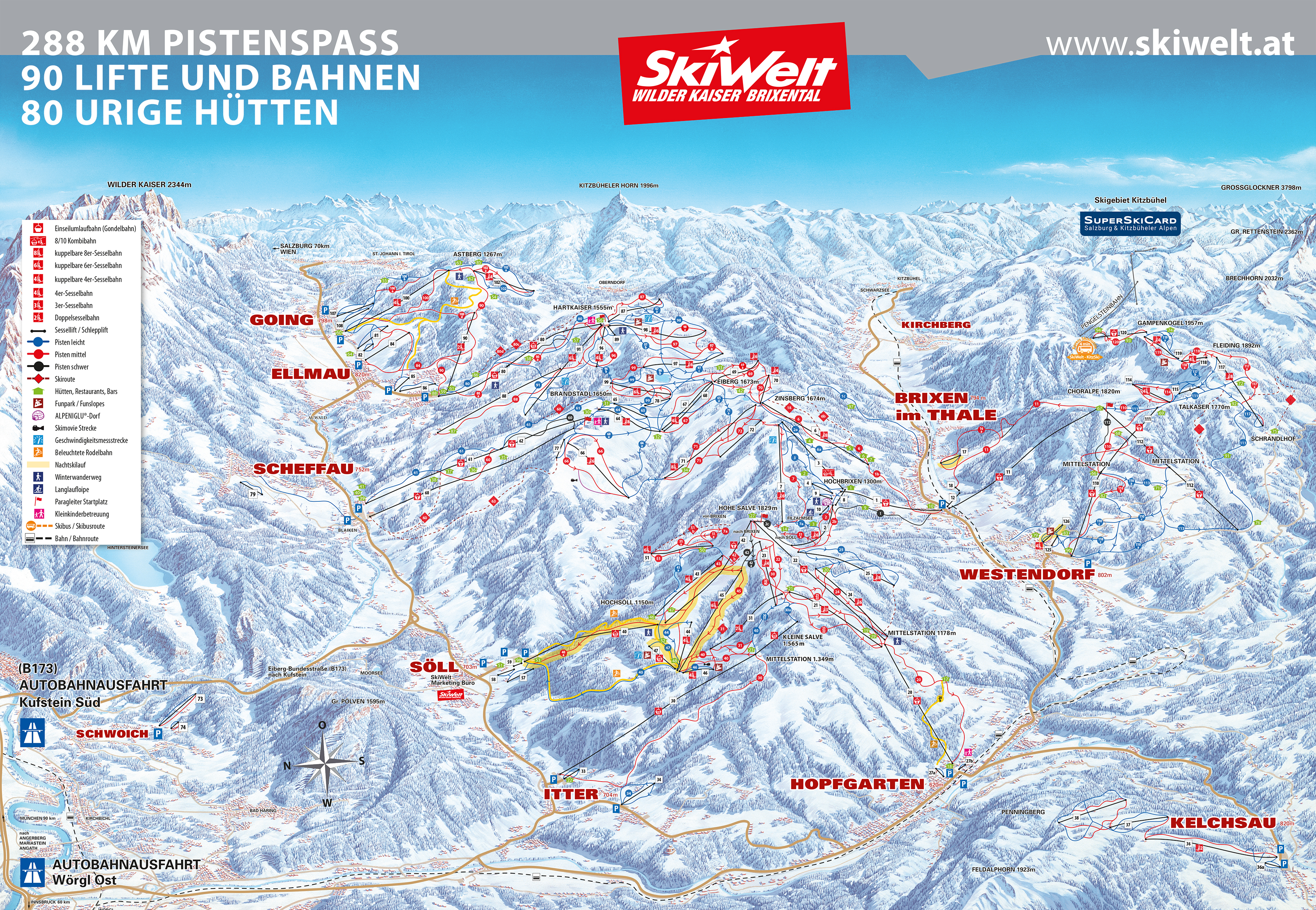 Scheffau Piste / Trail Map