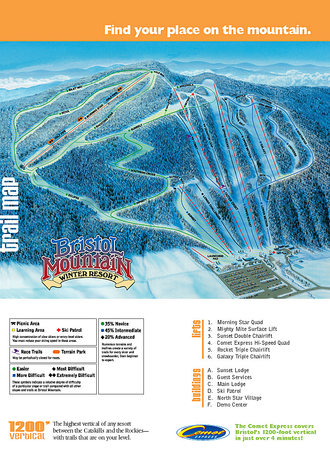 Bristol Mountain Piste / Trail Map