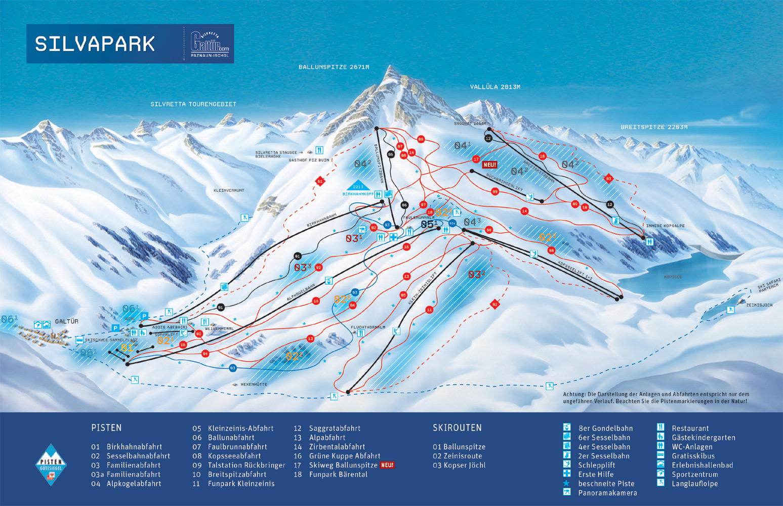 Galtur-Silvapark Piste / Trail Map