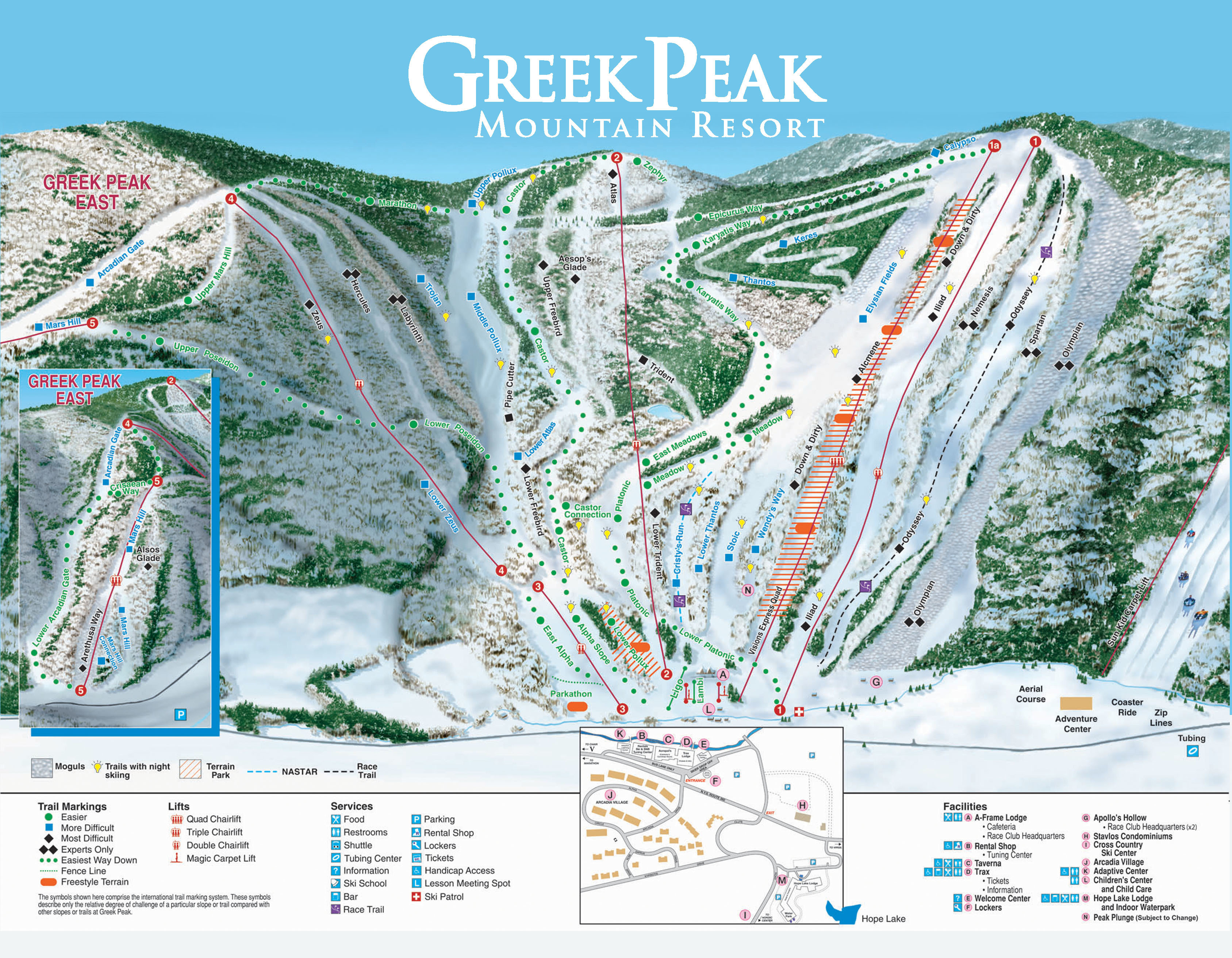 Greek Peak Piste / Trail Map