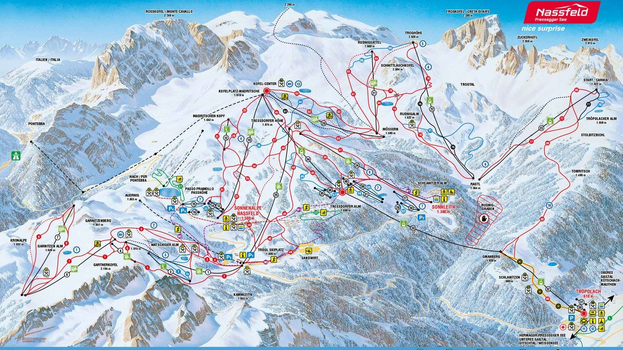 Nassfeld Piste / Trail Map