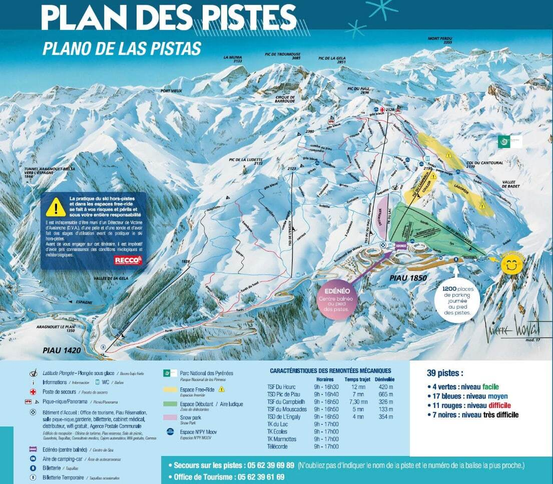 Piau Engaly Piste / Trail Map