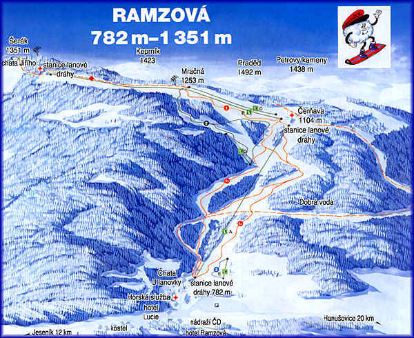 Ramzová Piste / Trail Map