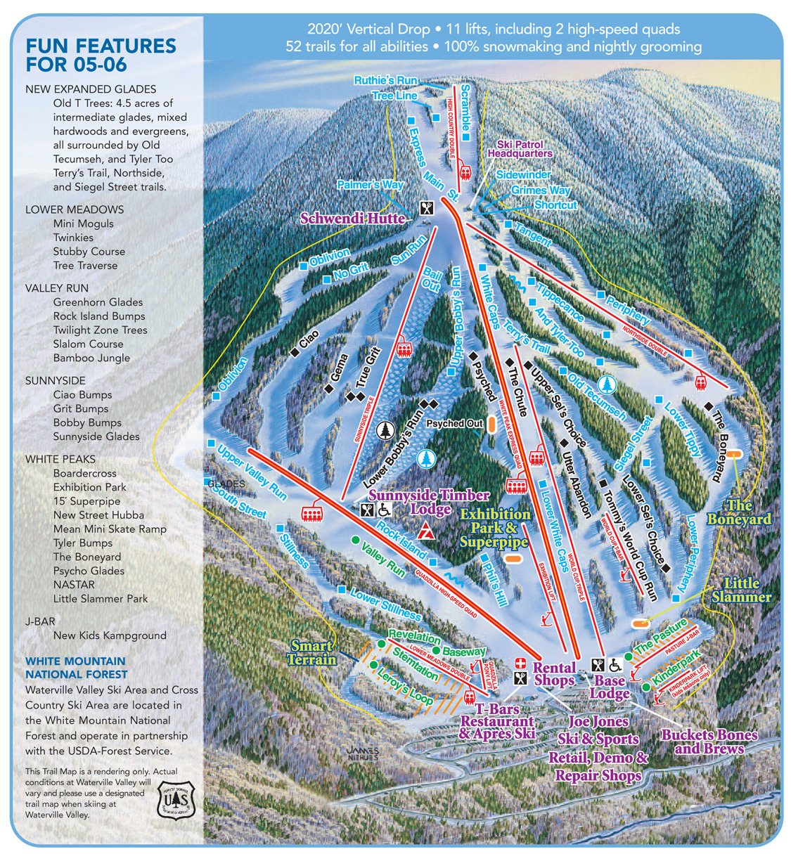 Waterville Valley Piste / Trail Map